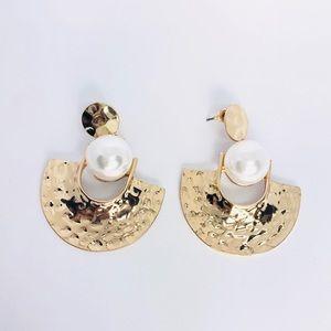 New! Gold Textured Fan Drop Faux Pearl Earrings